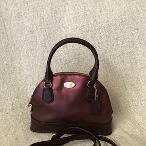 Coach mini cora domed satchel metallic leather NWT